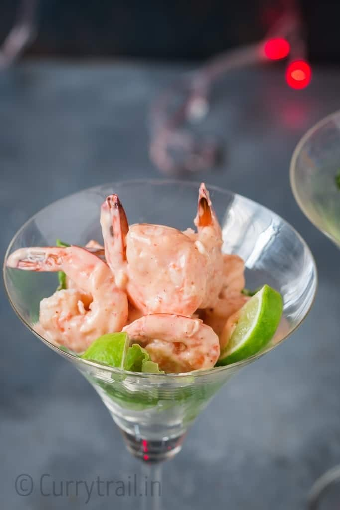 prawn cocktail served in glass ware