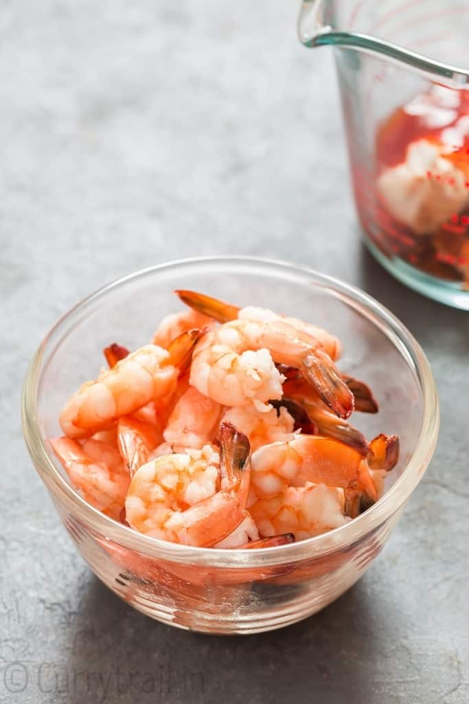 prawn cocktail in glass bowl
