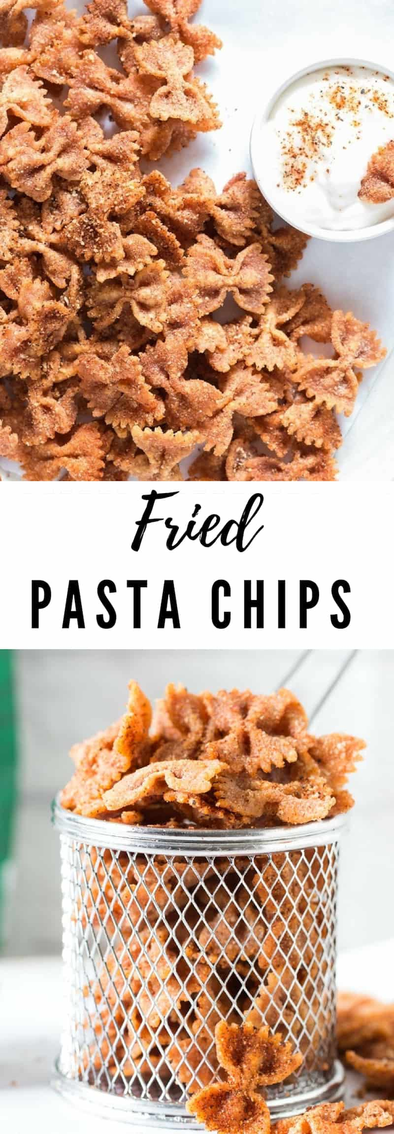 crispy fried pasta chips with text overlay