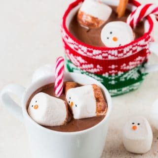 Homemade hot chocolate mix topped with marshmallows and cinnamon