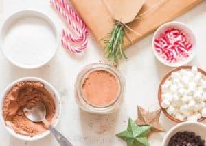 making Homemade hot chocolate mix
