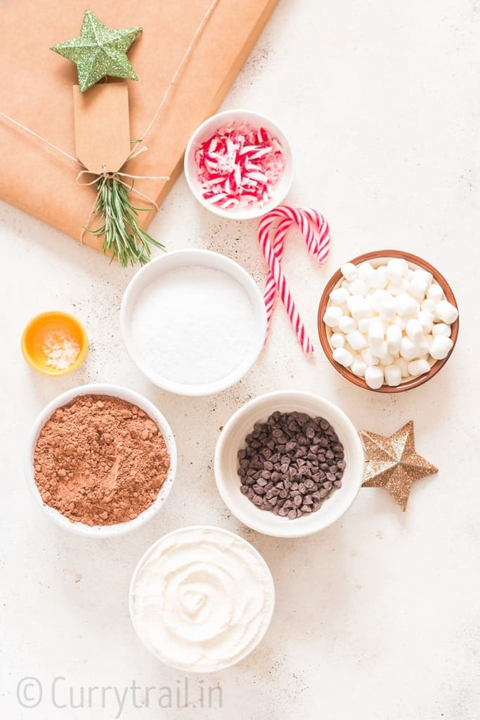 ingredients for making Homemade hot chocolate mix