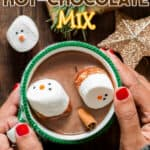 homemade hot chocolate mix to make hot cocoa for gifting with text