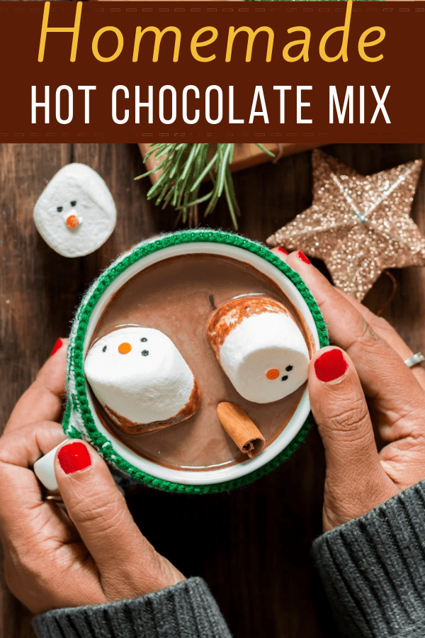 homemade hot chocolate mix perfect for gifting with text overlay