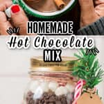 homemade hot chocolate mix in glass jars for gifting with text