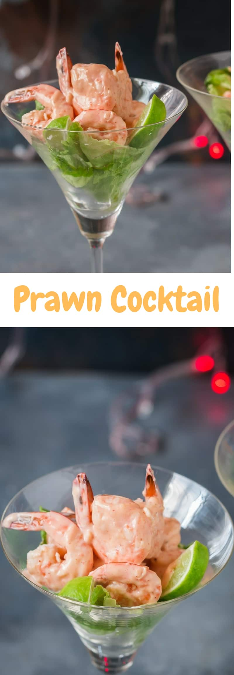 prawn cocktail served in glass ware with text overlay