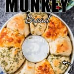 cheese stuffed savory monkey bread with text