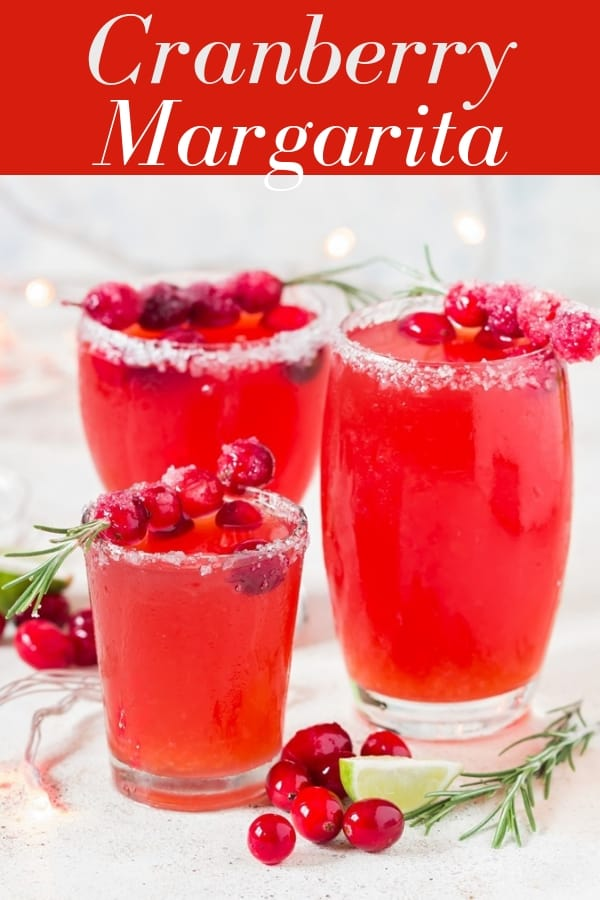 cranberry margaritas in 3 serving glasses with text overlay