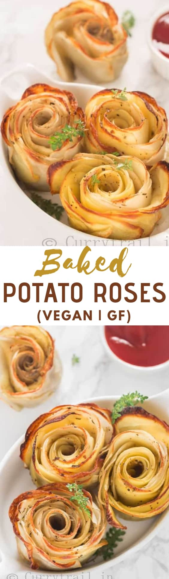 baked potato roses served in white oval ceramic dish with sauce on side with text overlay