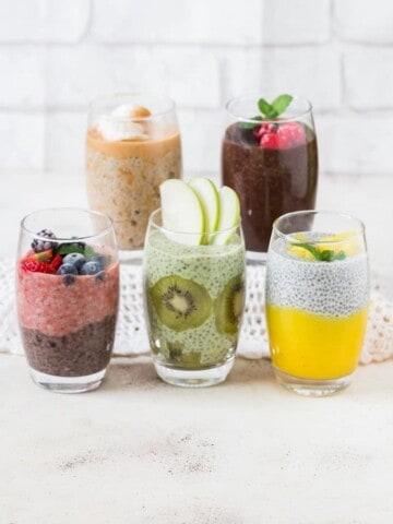 basic chia seed pudding served 5 ways