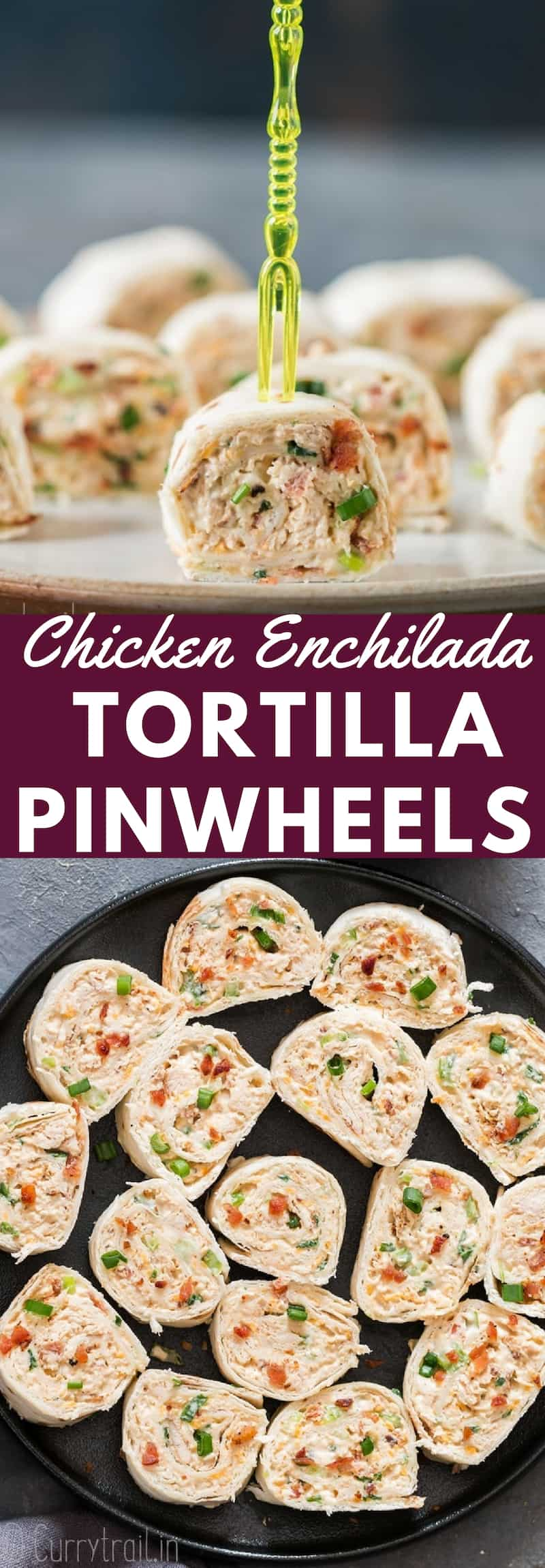 Chicken enchilada tortilla roll-ups are perfect appetizers for game day, parties or any gatherings that you can put together easily