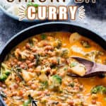 healthy vegan curry with chickpeas and loads of veggies in it with text