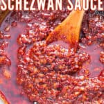 spicy chili sauce made in pan with text overlay