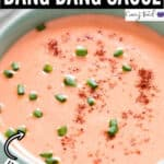 bang bang sauce in ceramic bowl with text