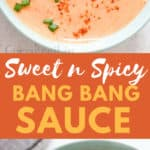 bang bang shrimp sauce in bowl with fried shrimps on side with text overlay