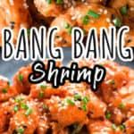 bang bang shrimp on black ceramic plate with text