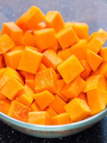 cubes of butternut squash in bowl