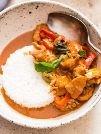 best Thai chicken Panang curry served with steamed rice in white ceramic bowl