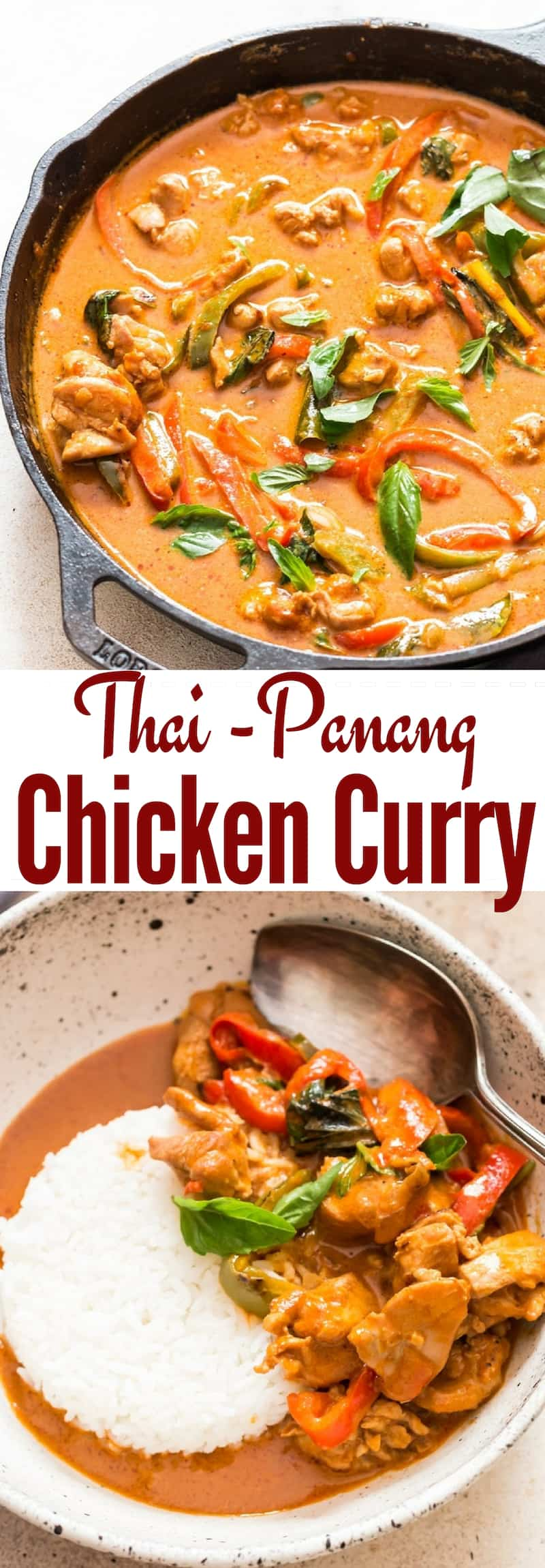 best Thai chicken Panang curry with text overlay