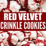 red velvet crinkle cookies served in ceramic plate with text