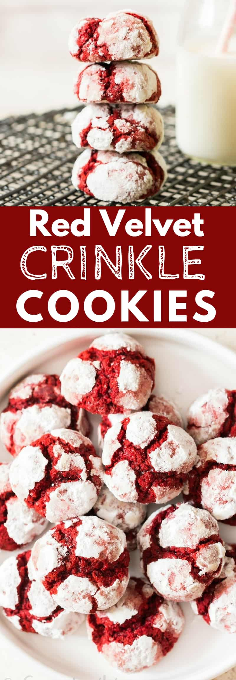 red velvet crinkle cookies with text overlay