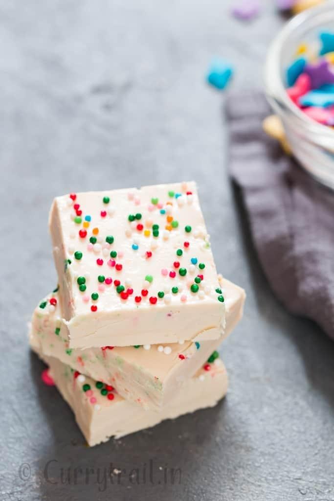 white chocolate fudge stacked up