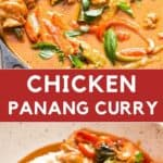 chicken panang curry served over rice on white bowl with text overlay