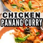 chicken panang curry in cast iron skillet with text