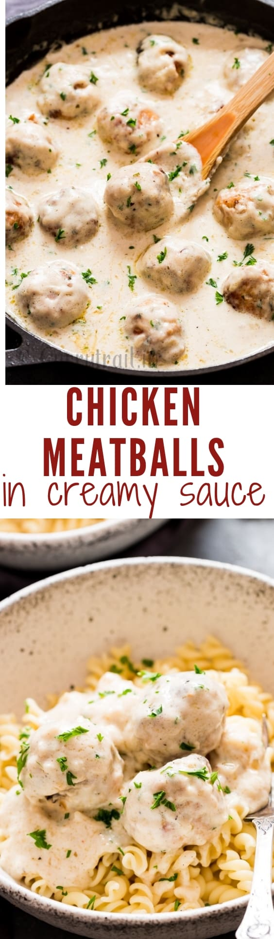 chicken meatballs in cream sauce is decadent chicken meatballs smothered with rich and delicious cream sauce with text over lay