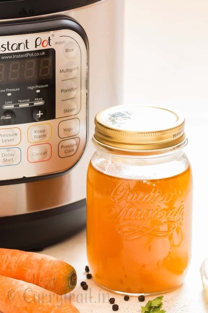 instant pot bone broth in glass jars