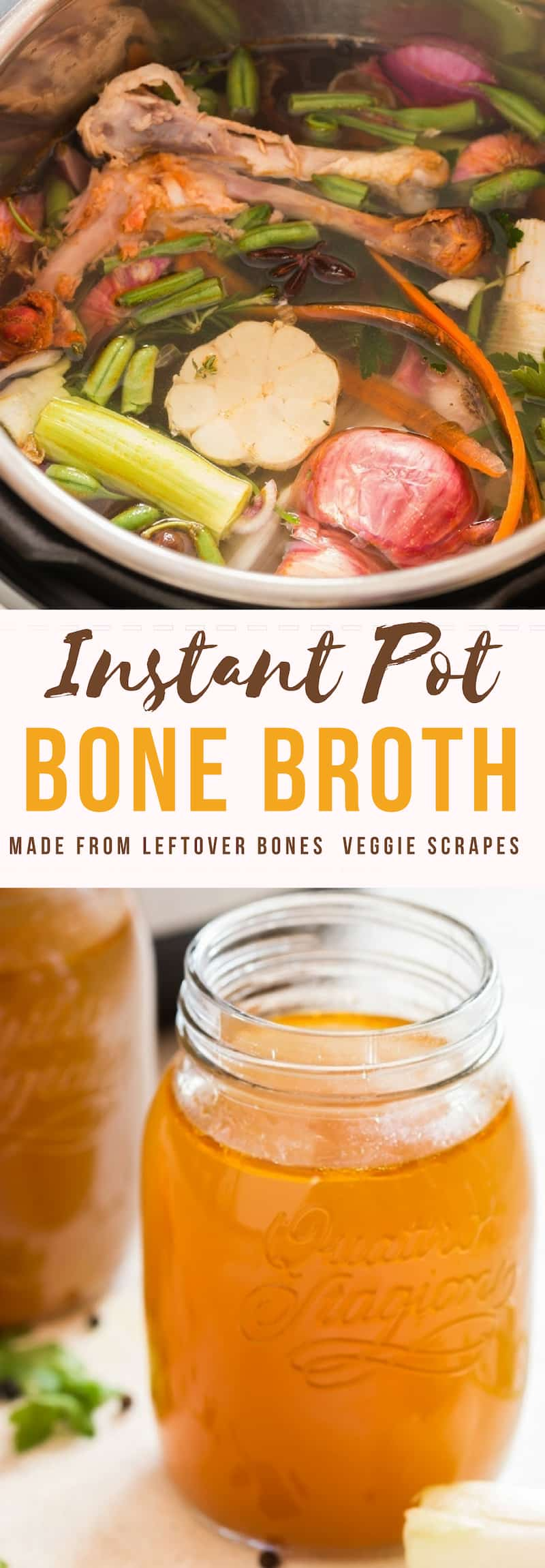instant pot bone broth in glass jars with text overlay