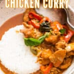 Thai chicken curry served with rice in ceramic bowl with text