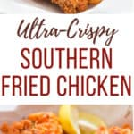southern fried chicken with text overlay