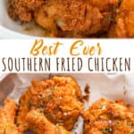 Southern style fried chicken with text overlay