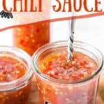 Asian chili sauce in glass jars with text overlay