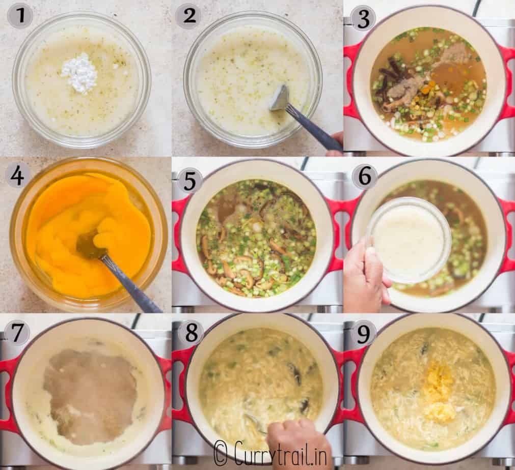 step by step pictorial collage of egg drop soup