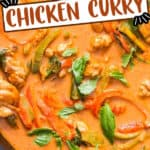 spicy chicken Panang curry cooked in cast iron pan with text