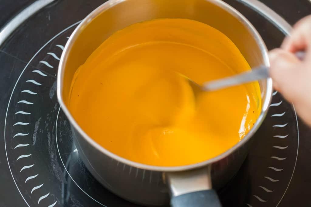 making turmeric paste recipe in sauce pan