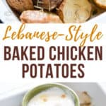 Lebanese baked chicken and potatoes on baking tray with text overlay