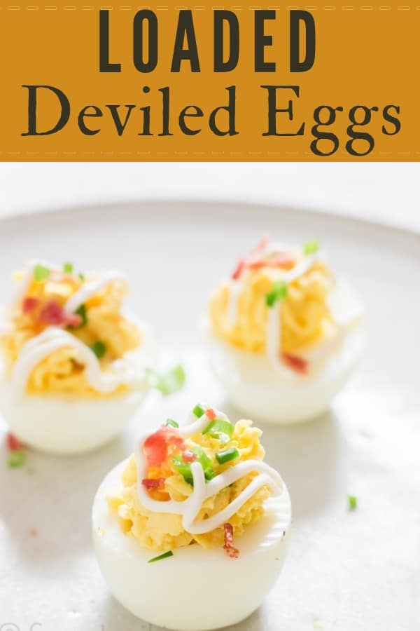 deviled eggs with bacon is great Easter appetizer with text overlay