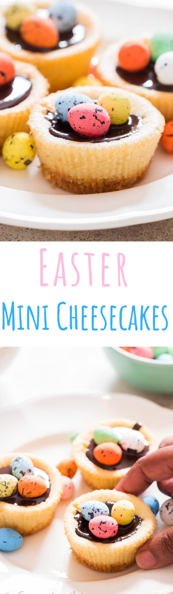 Easter mini cheesecake with dark chocolate and chocolate eggs on top with text overlay