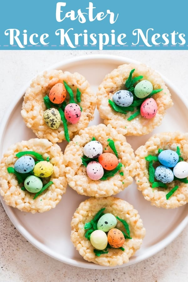 Easter Rice Krispie Treats Birds Nests topped with colored coconut flakes and Easter eggs with text overlay