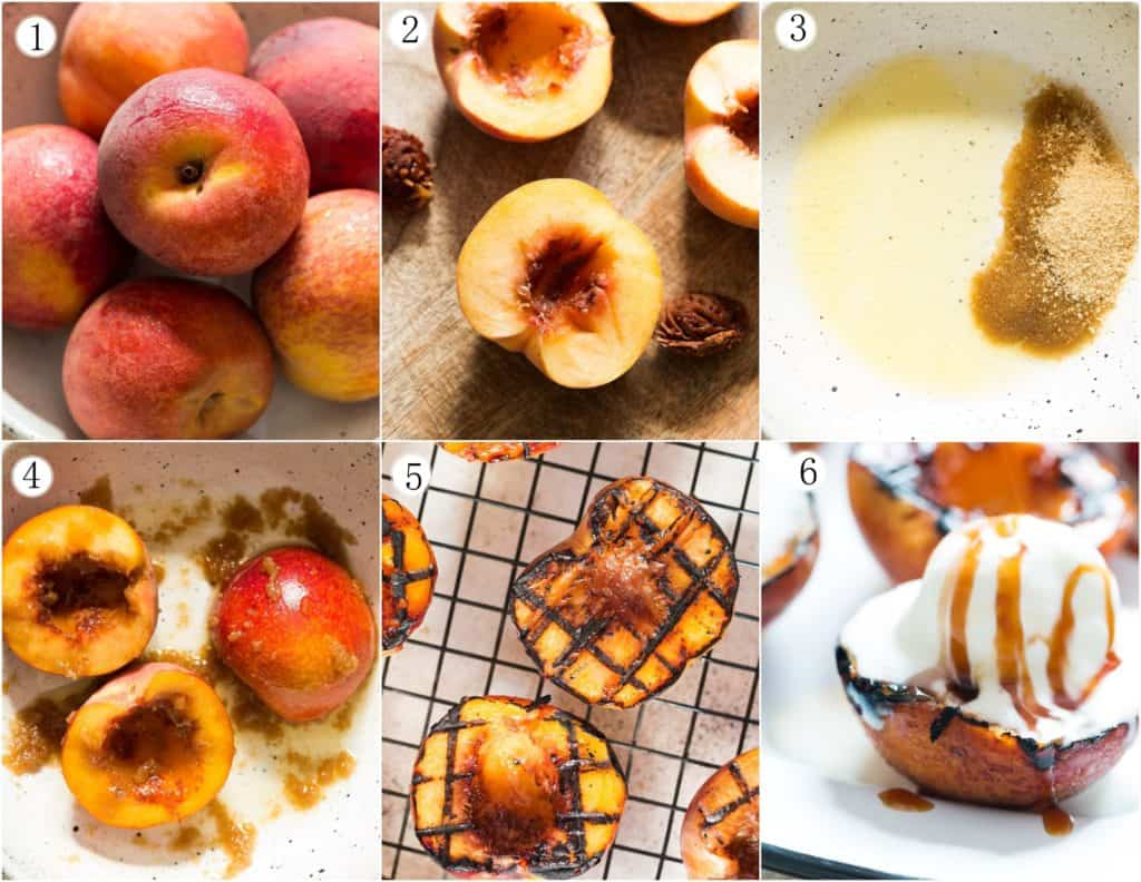 step by step pictures on how to grill peaches