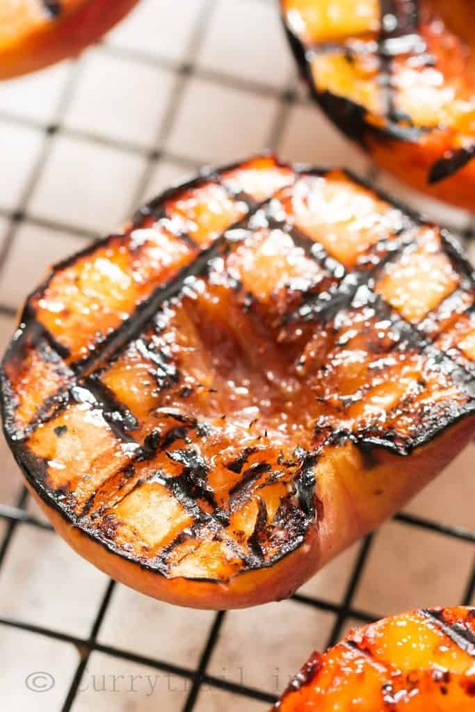 peaches grilled with brown sugar glaze