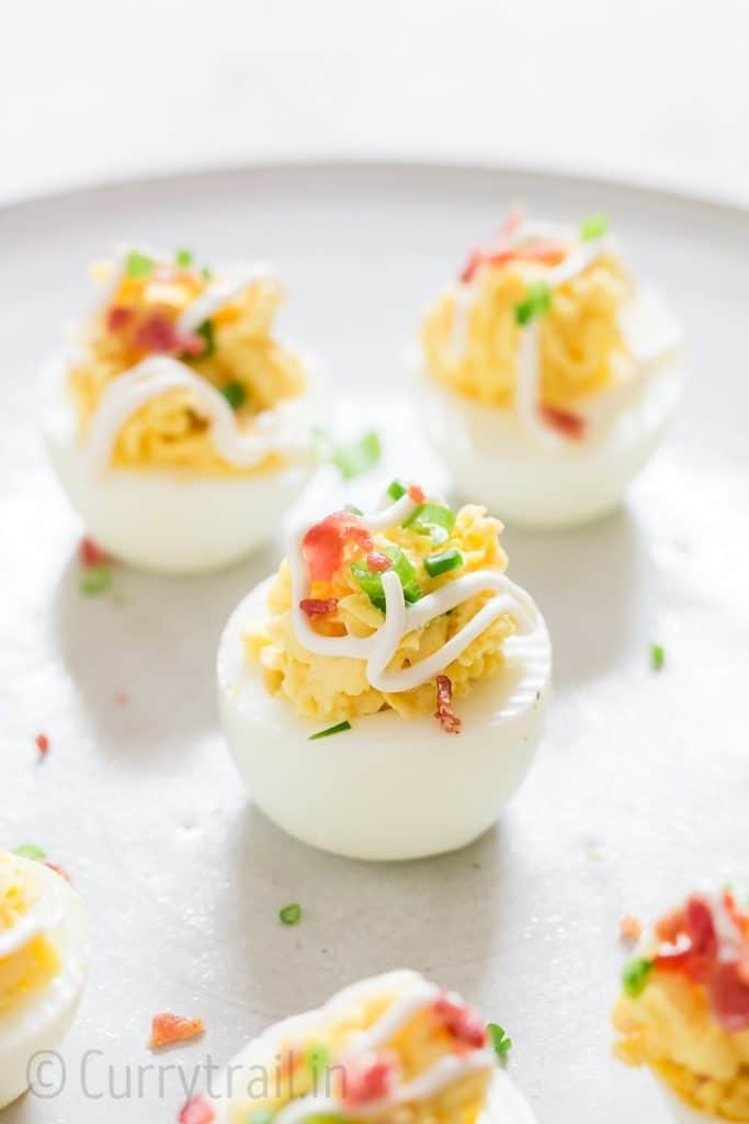 deviled eggs with bacon is great Easter appetizer