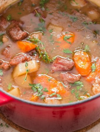one pot lamb stew cooked on stove top perfect with crusty bread