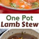 one pot lamb stew cooked on stove top perfect with crusty bread with text overlay