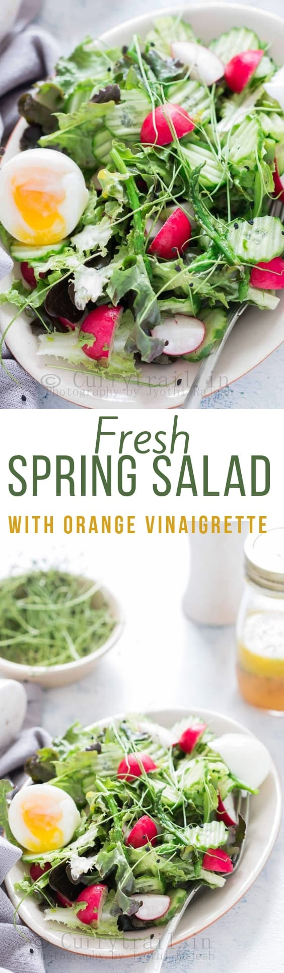 fresh spring salad made from fresh spring mix of tender greens with orange vinaigrette with text overlay