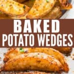 garlic parmesan baked potato wedges with text