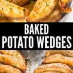 crispy baked potato wedges served with ketchup with text